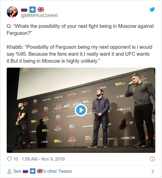 Khabib Nurmagomedov '95% 'Chắc chắn Tony Ferguson là đối thủ tiếp theo