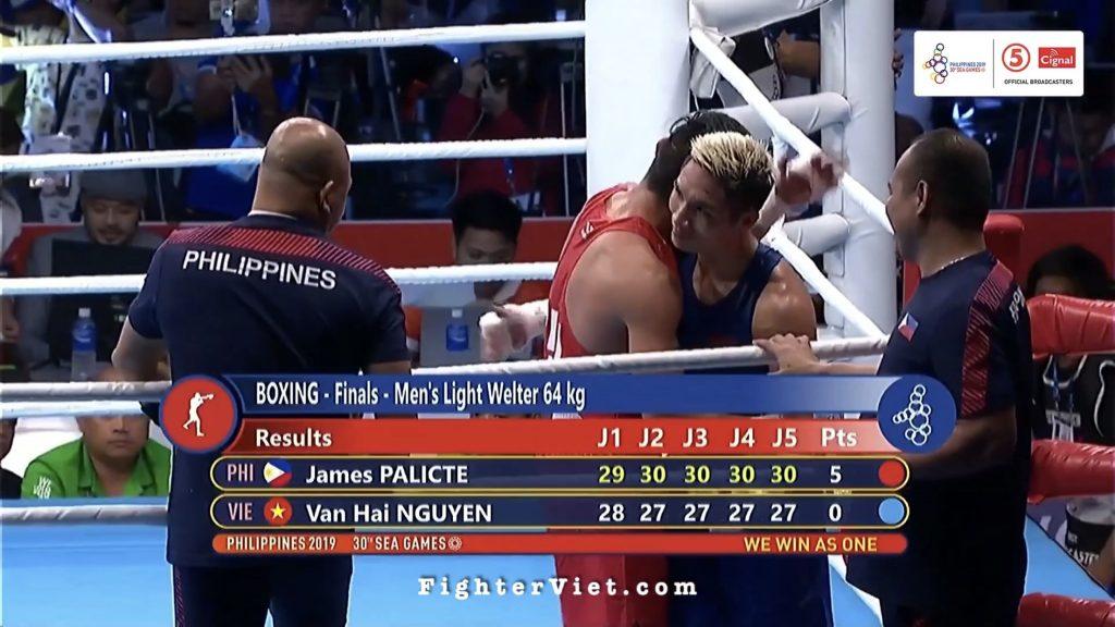 Highlight trận chung kết hạng 64kg Boxing SEA Games 30: Nguyễn Văn Hải vs James Palicte