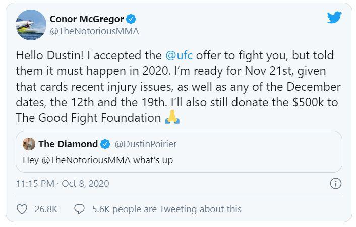 Conor McGregor tái đấu với Dustin Poirier