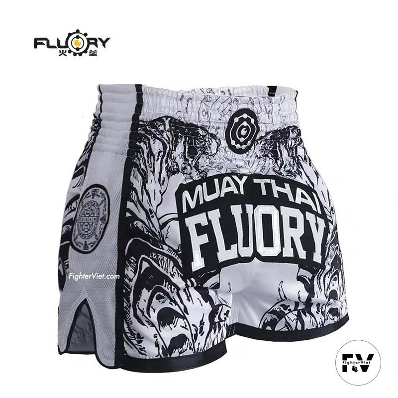 Quần Muay Thai Fluory Trắng Đen