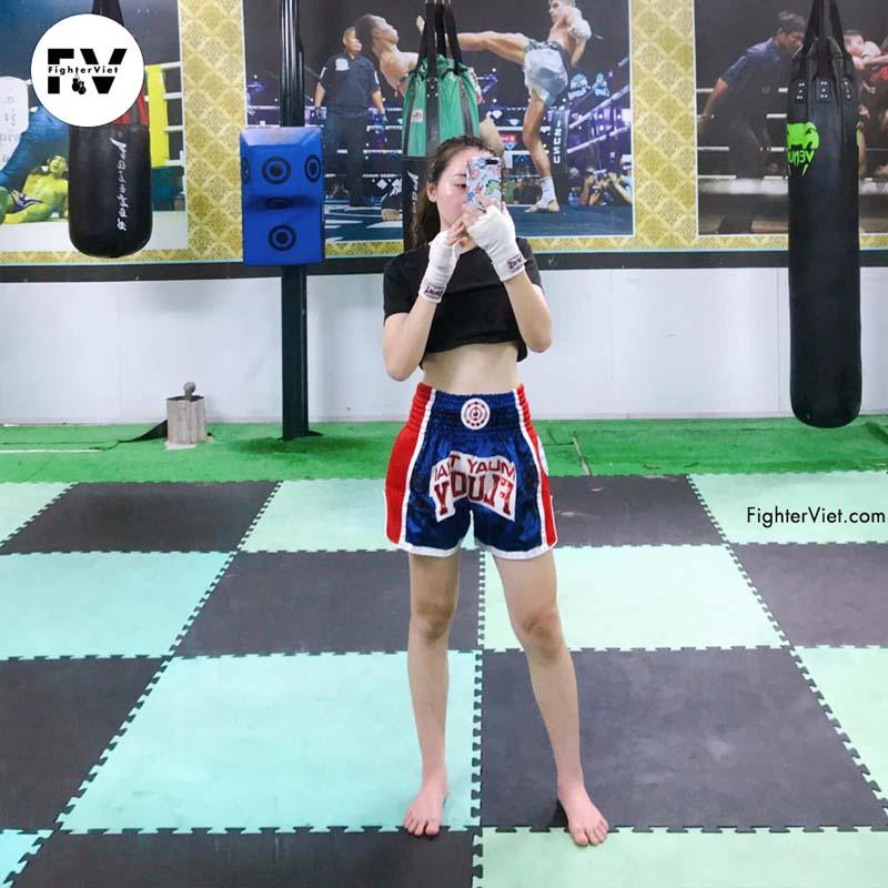 Quần Muay Thai Fluory Xanh Đỏ